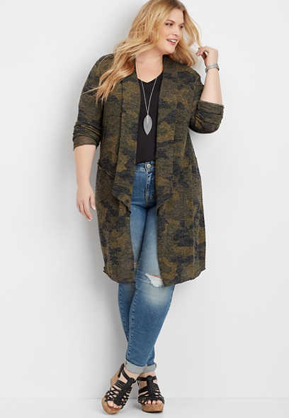 Plus Size Camo Duster Cardigan