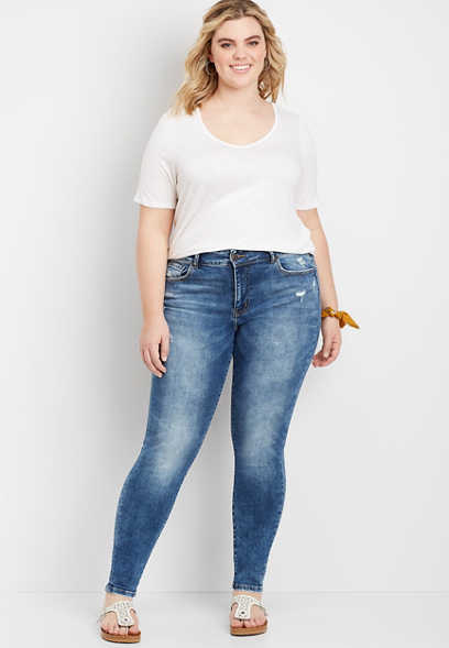 Plus Size Flying Monkey™ Marble Wash Skinny Jean