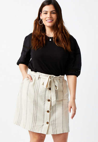 Plus Size White Striped Linen Utility Mini Skirt