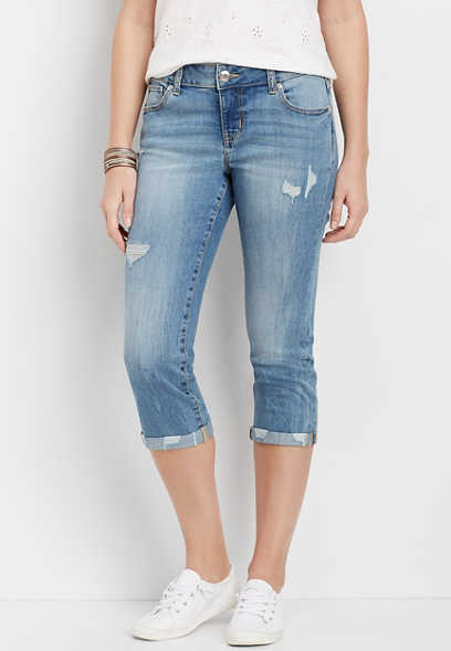 DenimFlex™ medium destructed capri