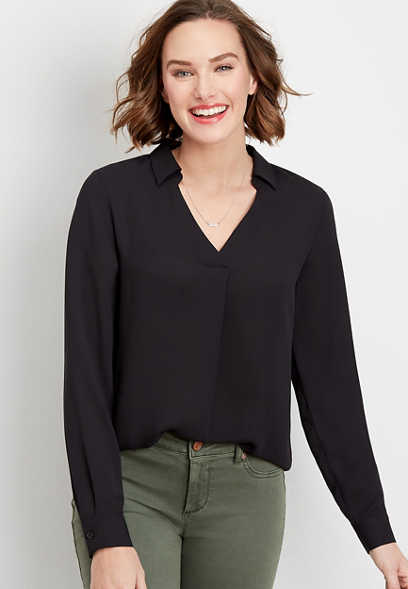solid popover blouse
