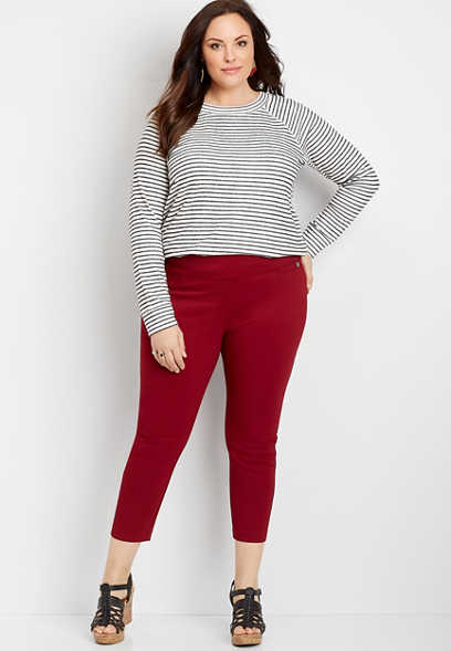 Plus Size Pull On Textured Bengaline Crop Pant