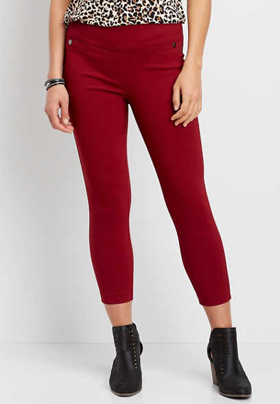 Pull On Textured Bengaline Crop Pant