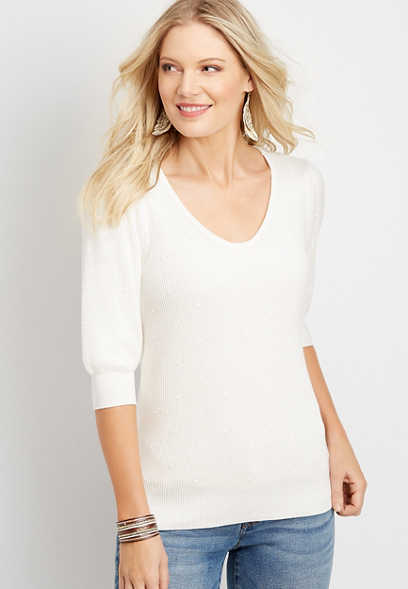 Bobble Puff Sleeve Pullover