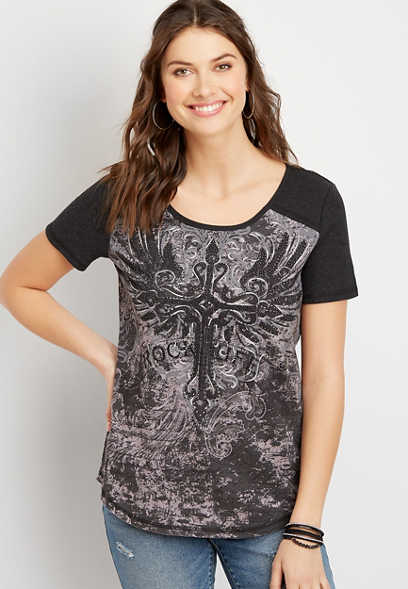 Studded Cross Graphic Tee