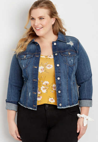 plus size cropped destructed denim jacket