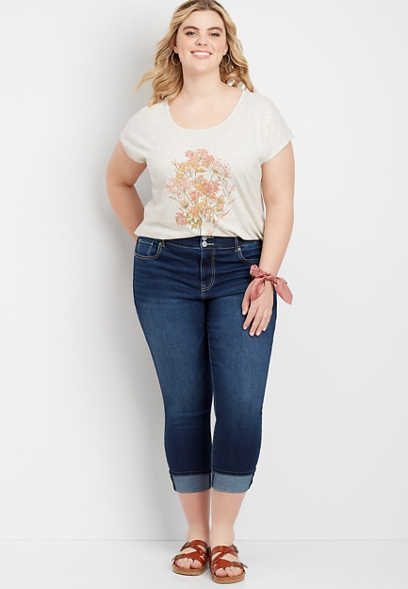 Plus Size DenimFlex™ High Rise Cuffed Cropped Jean