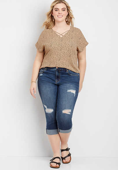 Plus Size DenimFlex™ Dark Destructed Cuffed Capri