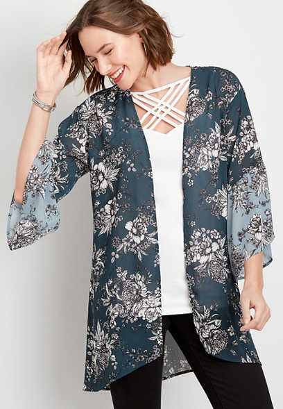 floral bell sleeve kimono
