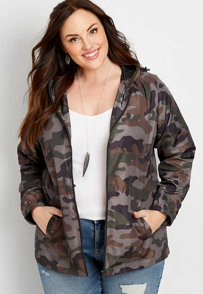 maurices Womens Plus Size Solid Button Down Military Jacket