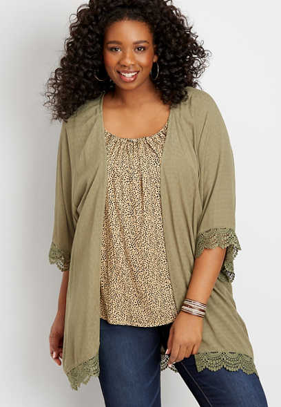 plus size solid crochet trim kimono