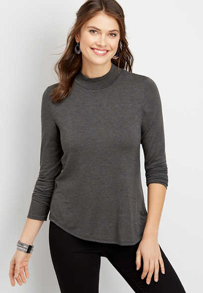 24/7 solid mock neck long sleeve tee