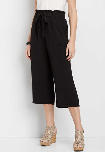 Paperbag Waist Wide Leg Cropped Pant