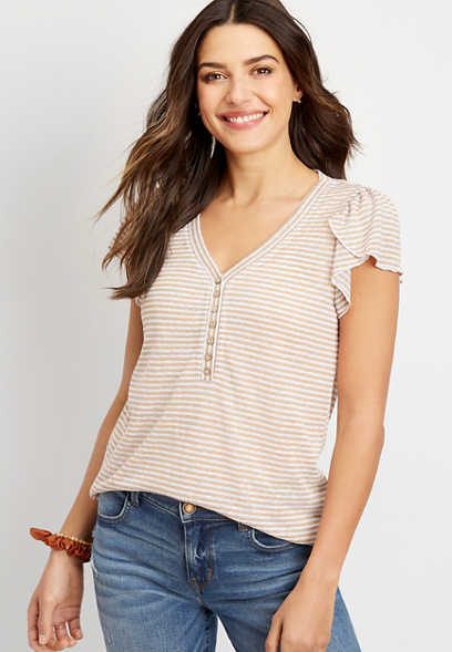 24/7 stripe flutter sleeve top