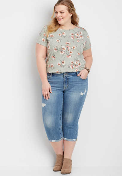 Plus Size DenimFlex™ Medium Destructed Capri