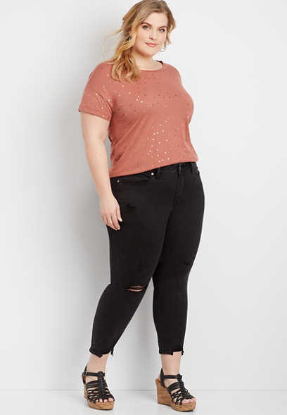 Plus Size Silver Jeans Co.® Avery High Black Destructed Cropped Jean