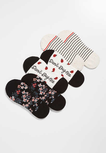 3 Pack Lady Bug No Show Socks