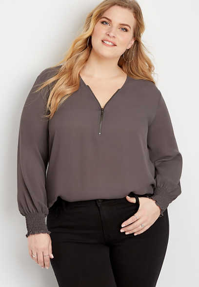 Plus Size Solid Zipper Blouse