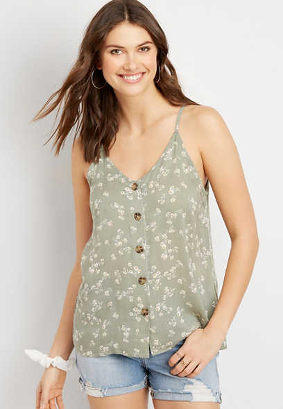 Floral Button Down Tank Top