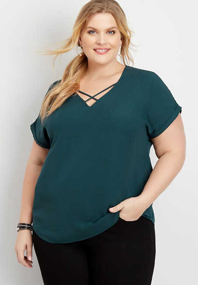 plus size solid lattice neck blouse