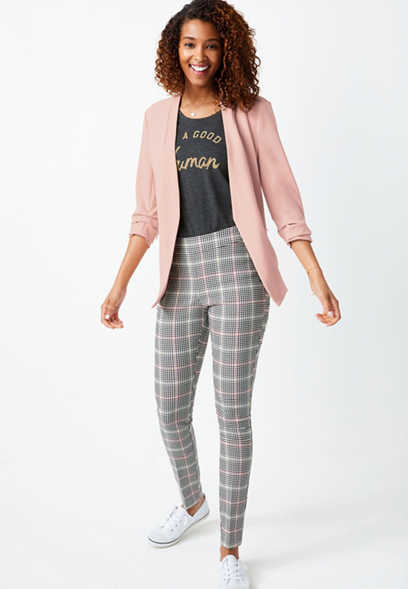 Plaid Pull On Bengaline Skinny Ankle Pant