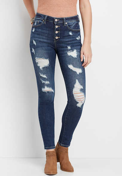 KanCan™ high rise destructed button fly skinny jean