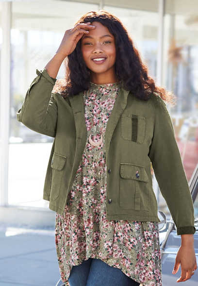 plus size cropped utility jacket