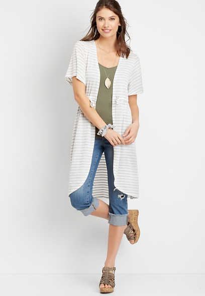 Stripe Tie Front Duster Cardigan
