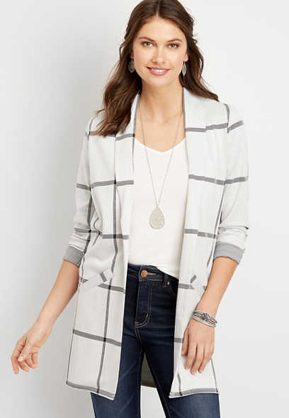 Menswear Plaid Duster Blazer