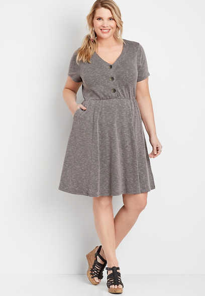 Plus Size Rib Knit Skater Dress