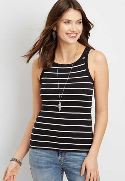 24/7 stripe high neck ribbed tank