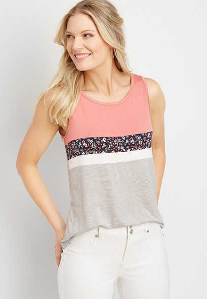 24/7 floral blocked high neck tank