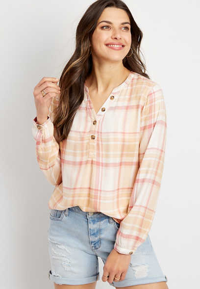 Plaid Long Sleeve Popover Shirt