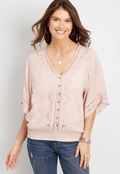 Light Pink Eyelet Smock Blouse