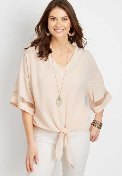 Tie Front Blouse with Mesh Stripe Sleeves