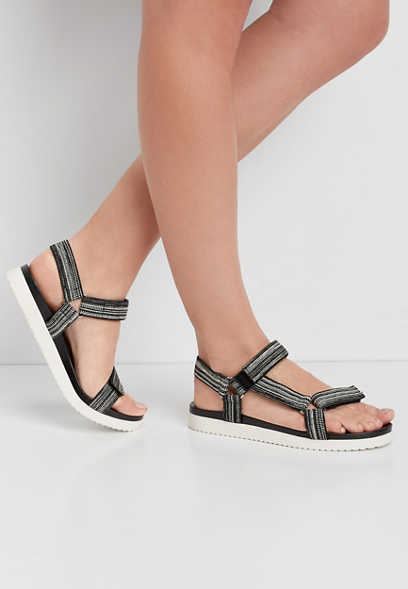 Polly Black and White Utility Sandal