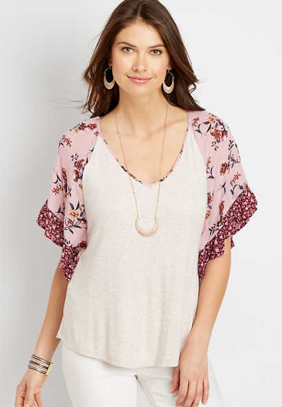 Mixed Floral Print Ruffle Sleeve Blouse