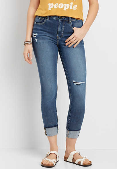 Everflex™ High Rise Backed Destructed Stretch Skinny Ankle Jean