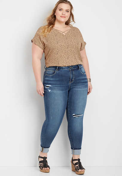 Plus Size Everflex™ High Rise Backed Destructed Stretch Skinny Ankle Jean