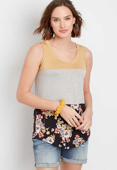 24/7 floral colorblock scoop neck tank
