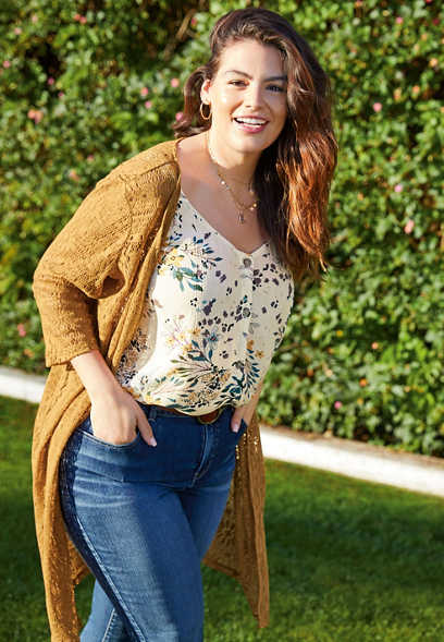 Plus Size Crochet Button Front Duster Cardigan