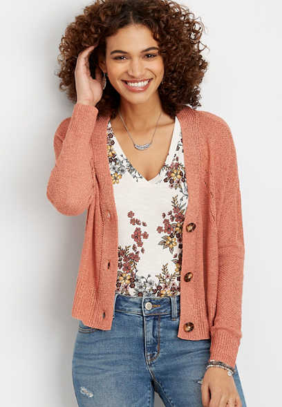 cropped boyfriend cardigan