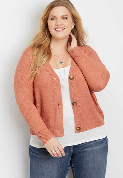 Plus Size Button Front Boyfriend Cardigan
