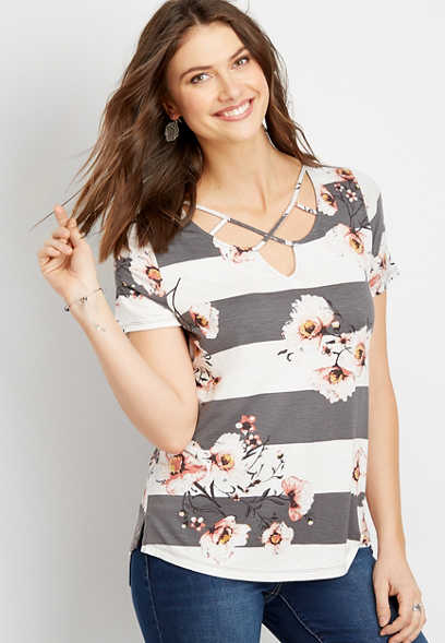 24/7 floral strappy neck tee