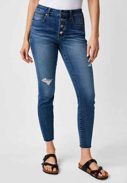 Everflex™ High Rise Button Fly Stretch Super Skinny Ankle Jean