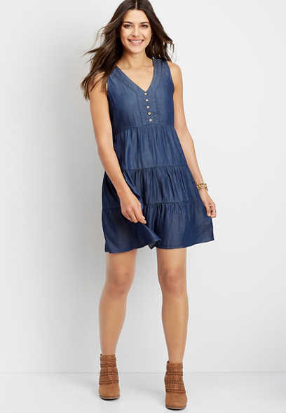 Denim Babydoll Dress