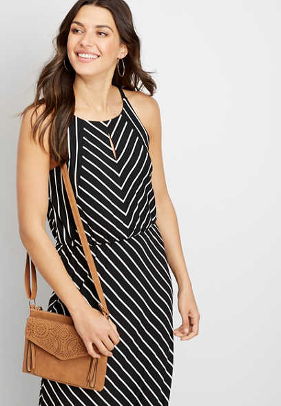 Maurices Black and White Striped Maxi Dress