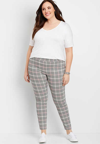 Plus Size Plaid Pull On Bengaline Skinny Ankle Pant