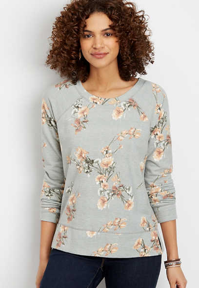 floral crew neck pullover