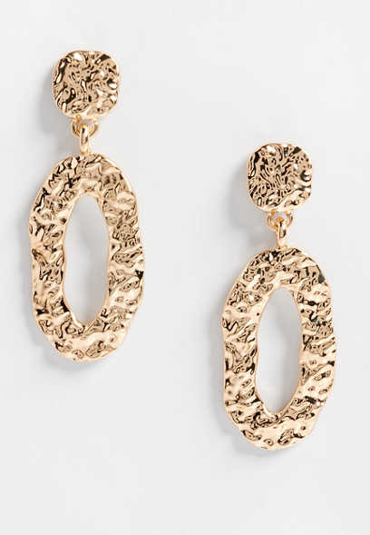 molten gold oval drop earrings